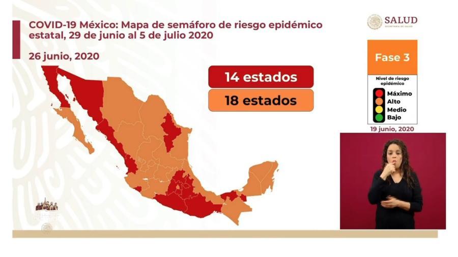 Tamaulipas y 17 estados se mantienen en semáforo naranja