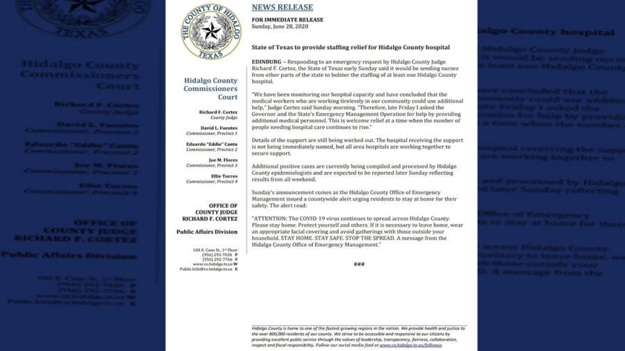 Texas proporcionará personal médico al Condado de Hidalgo