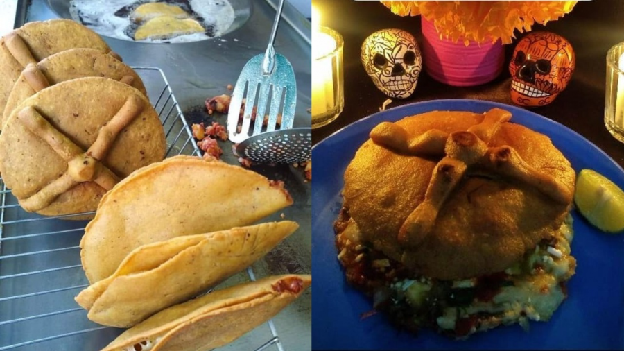 Crean las Gordimuertas, una fusión entre gorditas y pan de muerto