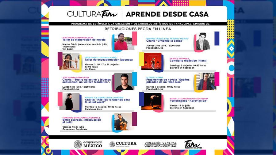 Cultura Tamaulipas invita a todos y todos a aprender desde casa