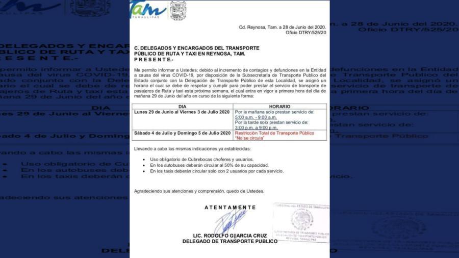 Tras incremento de casos de COVID-19, transporte público en Reynosa sólo funcionará en 2 horarios