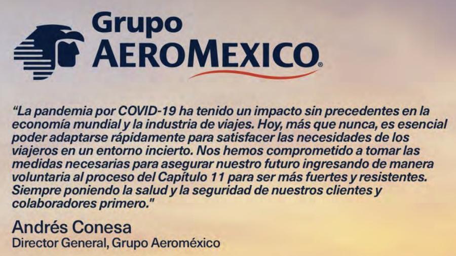Aeroméxico inició proceso voluntario de reestructura financiera ante COVID-19