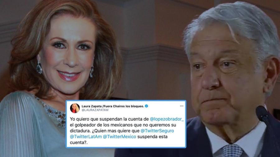 Laura Zapata pide a Twitter suspender cuenta de AMLO