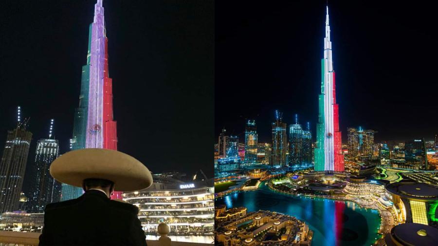 Así luce el Burj Khalifa en EAU  por el aniversario del inicio de la independencia de México