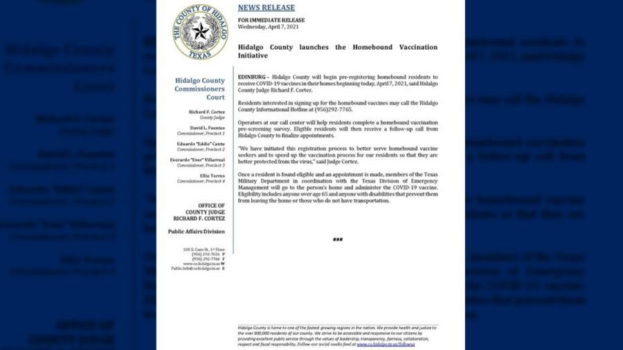 Inicia Condado de Hidalgo proceso de preinscripción para vacunación en los hogares