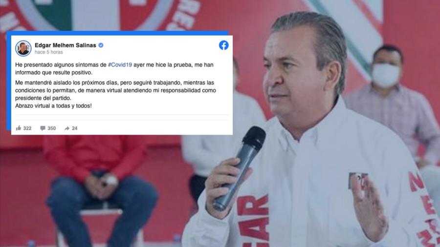 Edgar Melhem Salinas, dirigente del PRI en Tamaulipas, da positivo a Covid-19