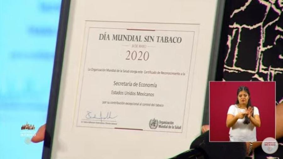 Entrega OMS reconocimiento a México por su lucha contra el tabaquismo