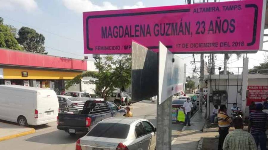 Nombres de mujeres víctimas en las calles de Altamira