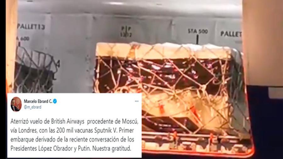 Llegan 200 mil vacunas Sputnik V a México